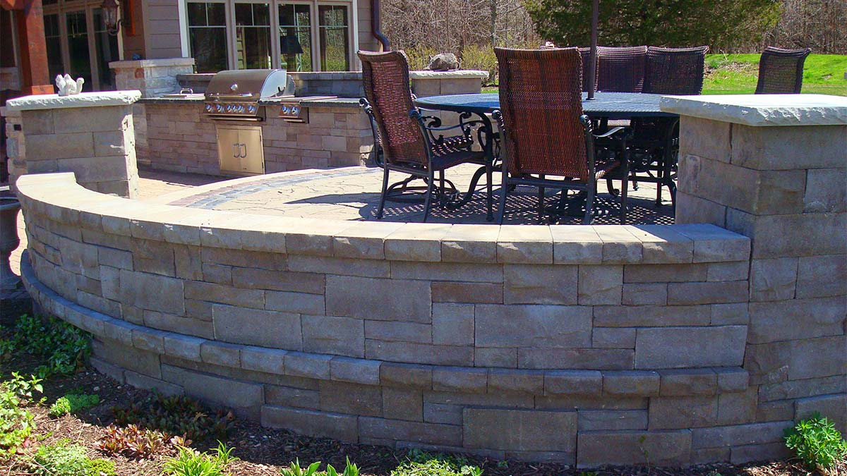 Outdoor Kitchen with Firepit and Path in Green Bay and Door County