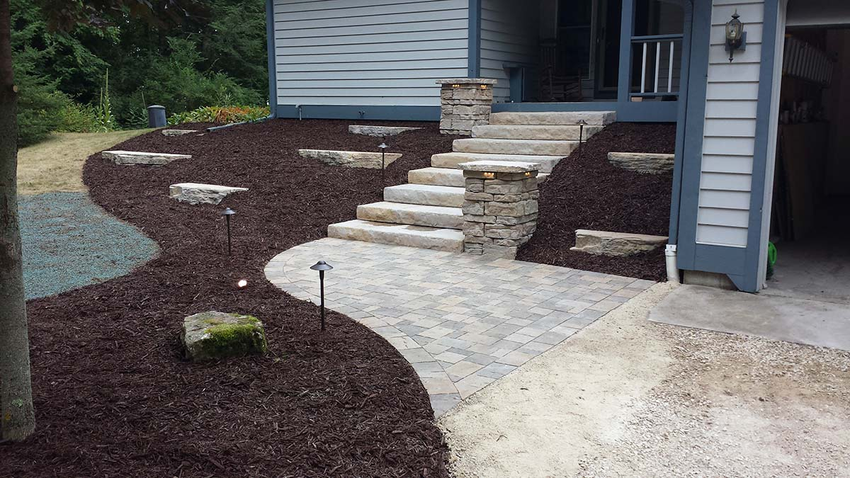 Stone and Brick Landscaping Step Systems and Paths in Green Bay and Door County
